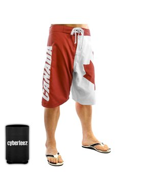 canada canadian flag men's swim trunks board shorts + coolie (xl)