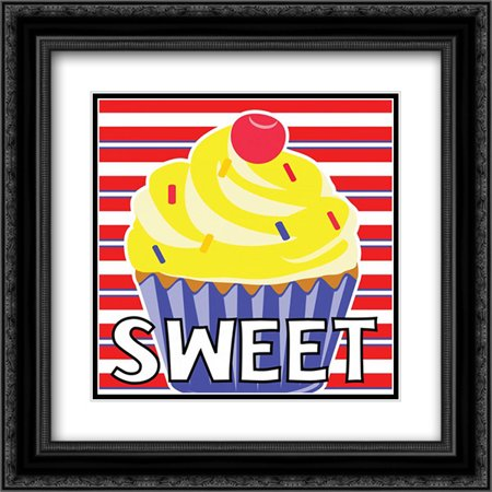 Sweet Shoppe VII 2x Matted 20x20 Black Ornate Framed Art Print by ND Art and (Sweet Shoppe Designs)