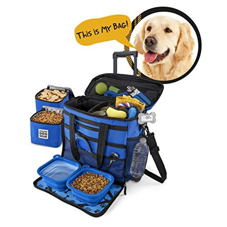 Rolling Dog Travel Bag - Week Away Tote With Wheels For Med And Large Dogs -