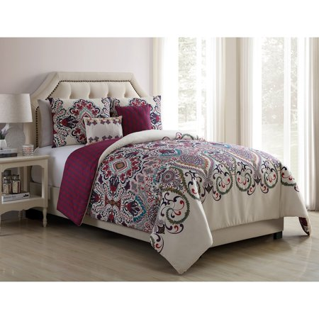 VCNY Home Amherst Boho Medallion 4/5 Piece Reversible Bedding Comforter Set with Decorative