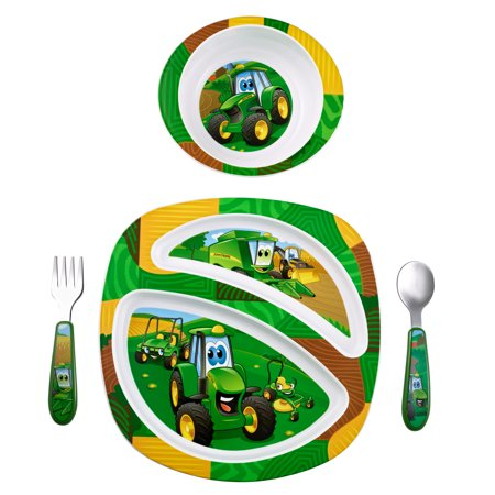 John Deere Johnny Tractor & Friends Feeding Set, Mickey Plate, Bowl, Knife & Fork Set](Mickey Mouse Plate Set)