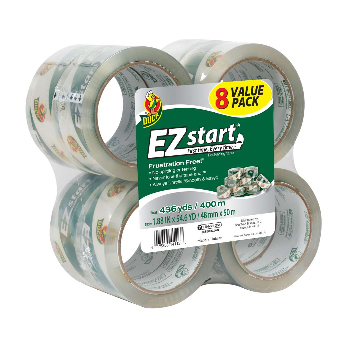 Duck Brand EZ Start Packaging Box Tape, 8pk