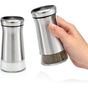 Home EC Premium Salt and Pepper Shakers with Adjustable Pour Holes - Elegant Stainless Steel Salt and Pepper Dispenser - Perfect for Himalayan, Kosher and Sea Salts - Spices W/Collapsible Funnel
