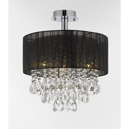 Silver And Crystal 15 Quot W Ceiling Light Chandelier Pendant Flush Mount Black Shade Walmart Com