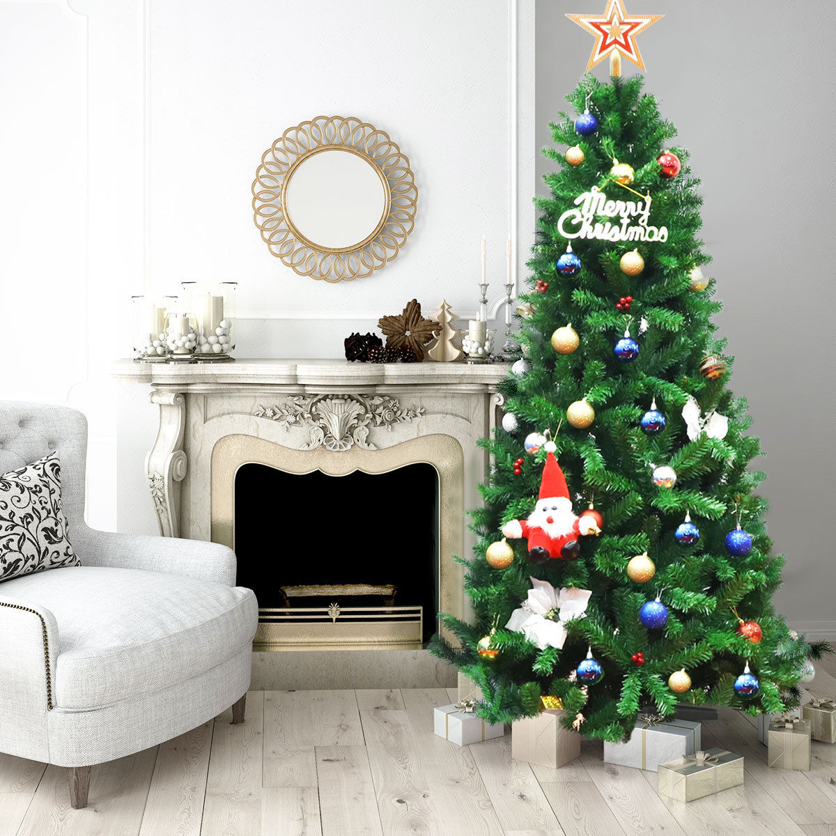 Costway 7Ft PVC Artificial Christmas Tree Encryption Premium Hinged w/ Metal Stand Green