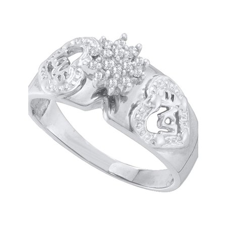 10kt White Gold Womens Round Diamond Heart Love Cluster Ring 1/10 Cttw - image 1 of 1
