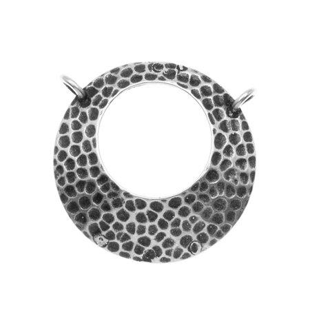Antiqued Silver Plated Eyeglass Holder Hammered Dome 24mm (Silver Plated Eyeglass)
