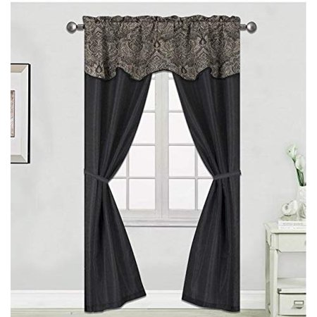 1PC Faux Silk Window Curtain Window Treatment with Rod Pocket for any Room with Attached Valance in Multiple Colors and Sizes (63