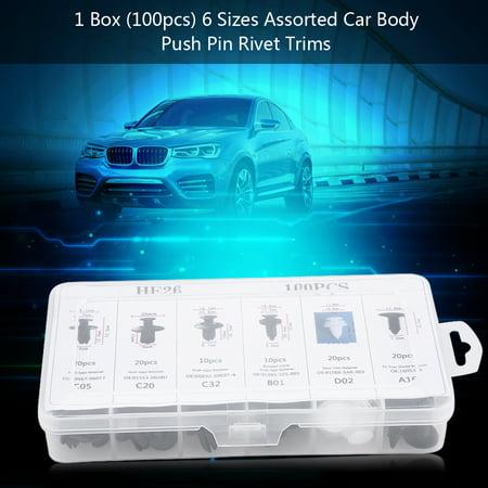 Anauto 100Pcs 6 Sizes Assorted Clip Trim Car Push Pin Rivet Bumper Door Panel Retainer, Rivet Trim, Push Type Retainers