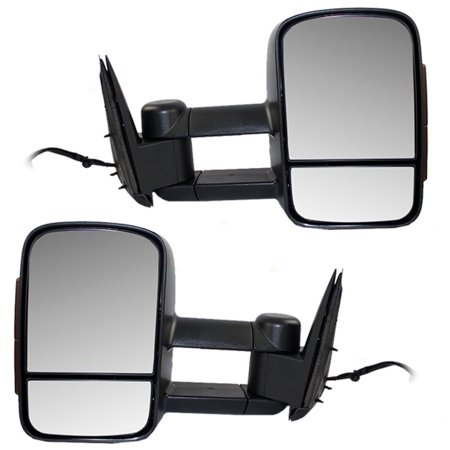 BROCK Power Tow Telescopic Mirrors Heated External Signal Performance Upgrade Pair Set of Mirrors for Cadillac Chevrolet GMC SUV Pickup Truck GM1322106
