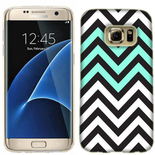 Mundaze Mint White Chevron Phone Case Cover for Samsung Galaxy S7 edge