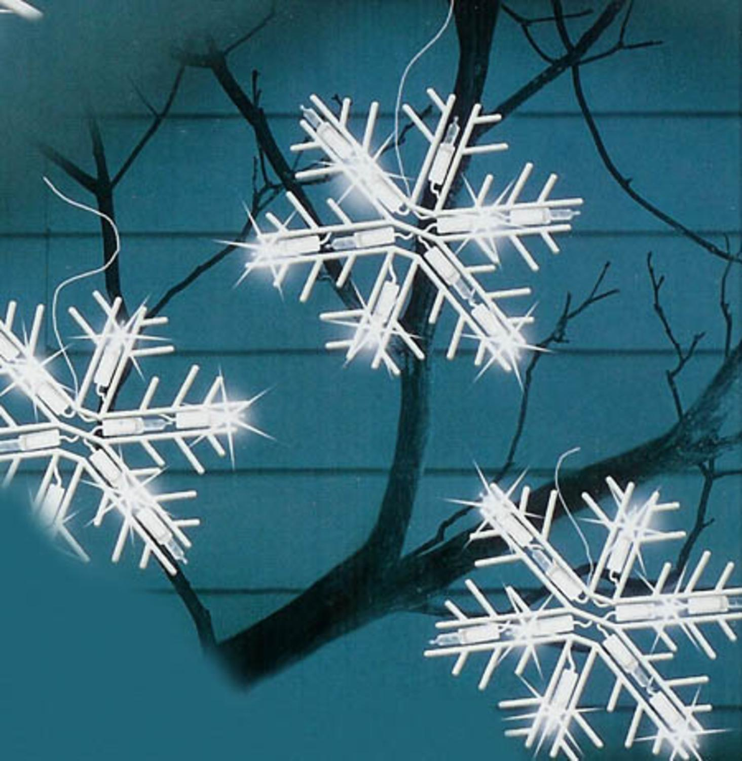 Attractive Set Of 5 Polar White LED Lighted Snowflake Icicle Christmas Lights   White  Wire Good Ideas