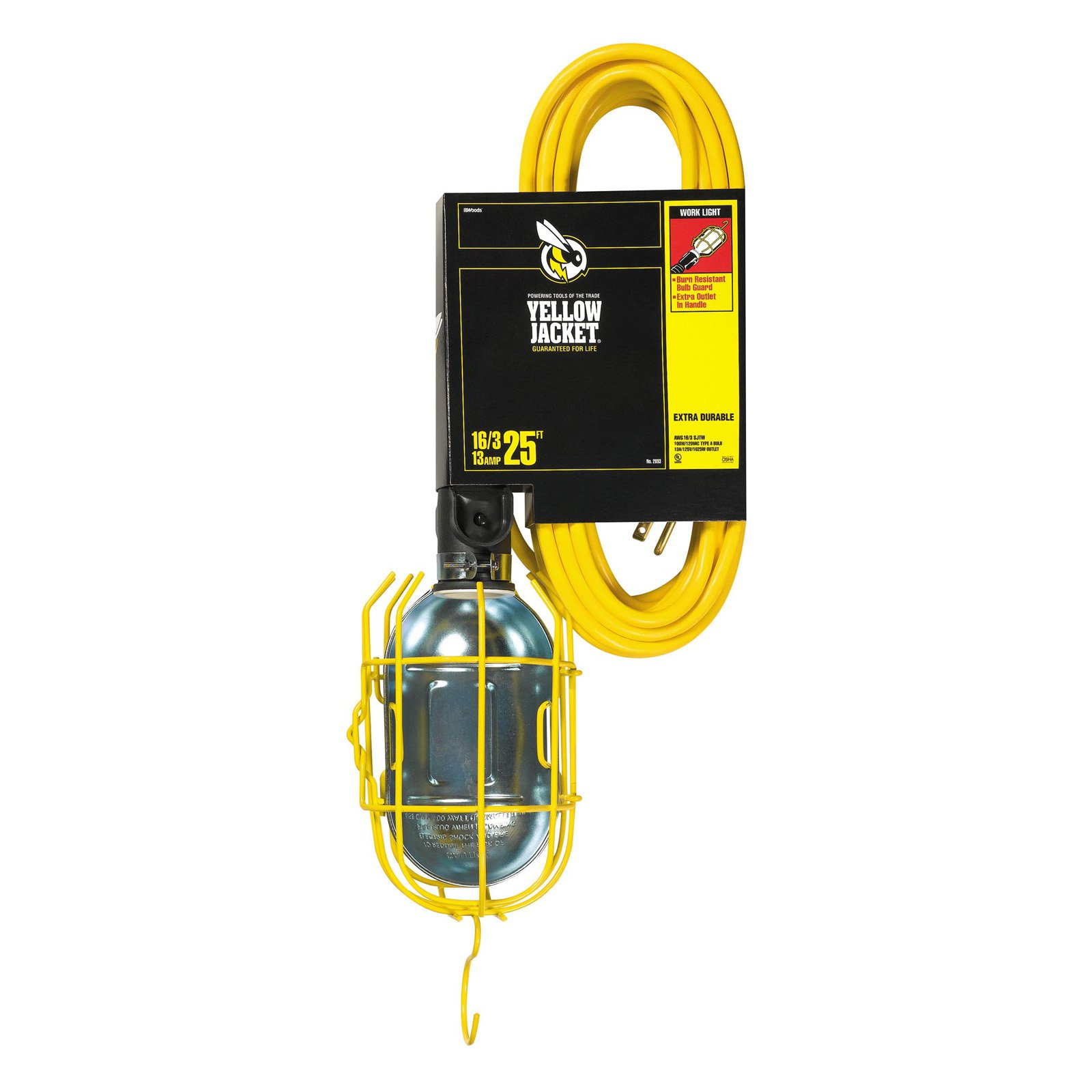 Yellow Jacket 2893 16/3 SJTW Trouble Light Work Light with Metal Guard and Outlet, 25-Feet