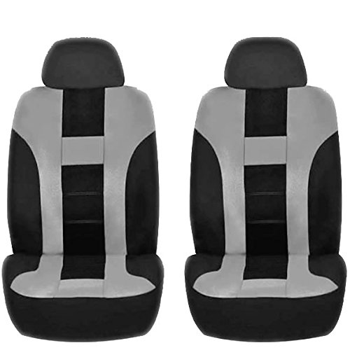 4PC GRAY & BLACK DBL STITCH POLYESTER FRONT CAR SEAT COVERS SET UNIVERSAL SUV