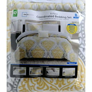 6f7c78dcee Mainstays Yellow Damask Coordinated Bedding Bed in a Bag - Walmart.com