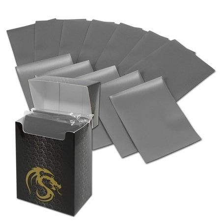 Double Deck Card Box (BCW Deck Guards 80-Count Double Matte Card Sleeves with Box - Grey (Standard) )