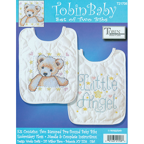 "Tobin Angel Bib Pair Stamped Cross Stitch Kit, 8"" x 10"", Set Of 2"