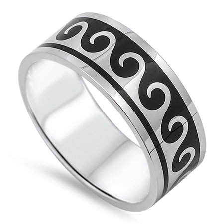Men's Wave Surf Water Black Classic Ring ( Sizes 7 8 9 10 11 12 13 14 ) 316L Stainless Steel Band Rings by Sac Silver (Size - Water Wave Ring