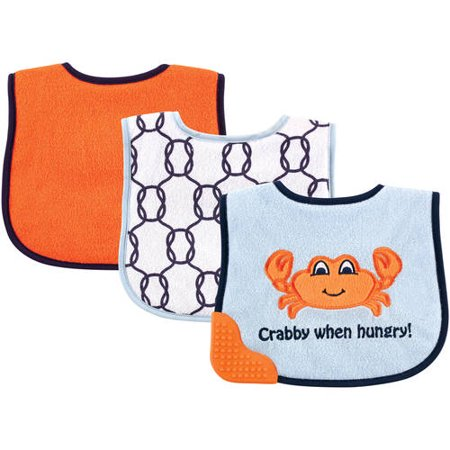 Luvable Friends Baby Boy and Girl Bibs with Teether, 3-Pack - Boy Crab