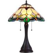 "Chloe Lighting Jorgie Tiffany-Style 2-Light Table Lamp with 16"" Shade"