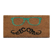 """A1HC First Impression Green Glitter Glasses Welcome Doormat 24"""" X 36"""""""