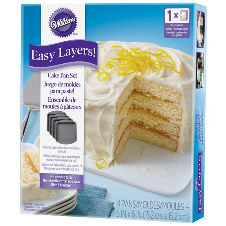 "Wilton Easy Layer Square Cake Pan 4pc, 6"" x 6"""