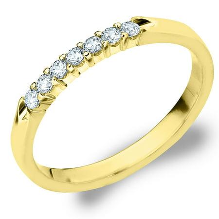 0.25 CTTW 7 Stone Yellow Gold Diamond Anniversary Ring, Diamond Wedding