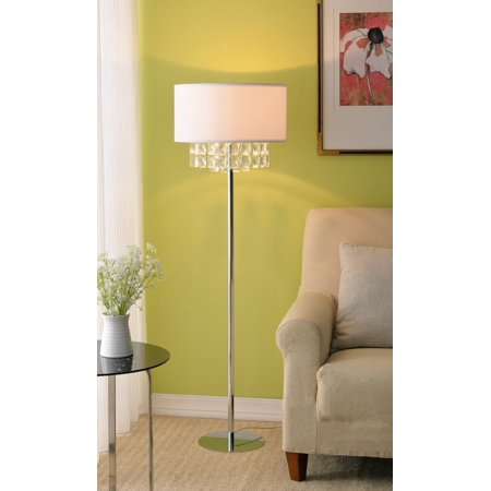 - Ophelia Chrome with Crystal Accents Floor Lamp