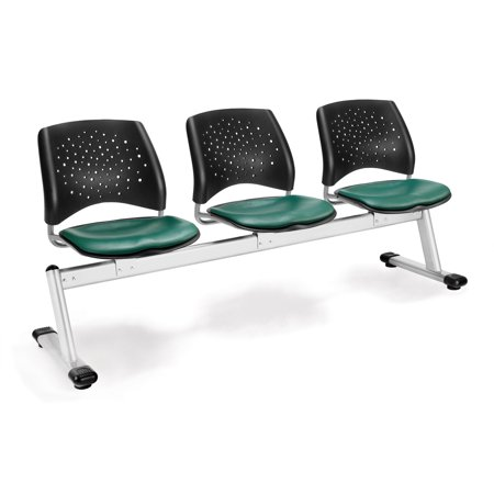 OFM Stars Series Model 323-VAM 3-Unit Beam Seating with 3 Vinyl Seats, Teal ()
