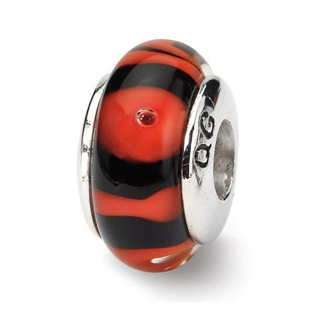 Reflection Beads QRS623 Sterling Silver Red & Black Hand-Blown Glass Bead - Antiqued - image 1 de 1