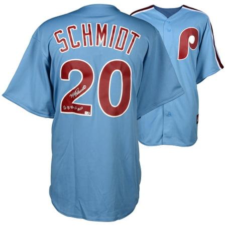 Mike Schmidt Philadelphia Phillies Fanatics Authentic Autographed Majestic Cooperstown Replica Blue Jersey with 80,81,86 NL MVP Inscription - No Size