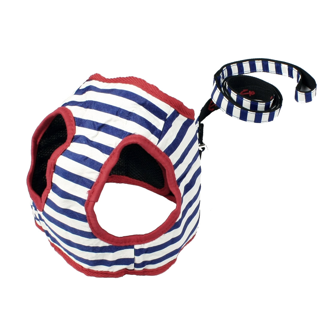 Blue White Stripes Printed Pet Dog Harness Leash Size 4