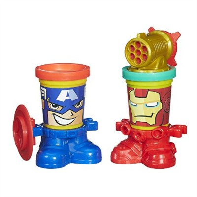 Play Doh Marvel Can Heads Featuring Iron Man And Captain America