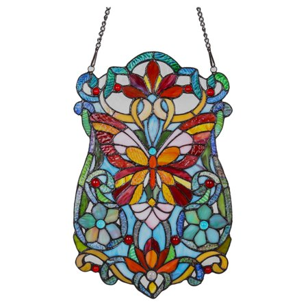 River of Goods Stained Glass Butterfly Fleurs Window Panel - Stained Glass Monarch Butterfly