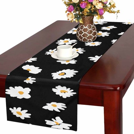 MKHERT Daisy Floral Table Runner For Wedding Party Decoration Kitchen Decor Decoration 14x72 inch