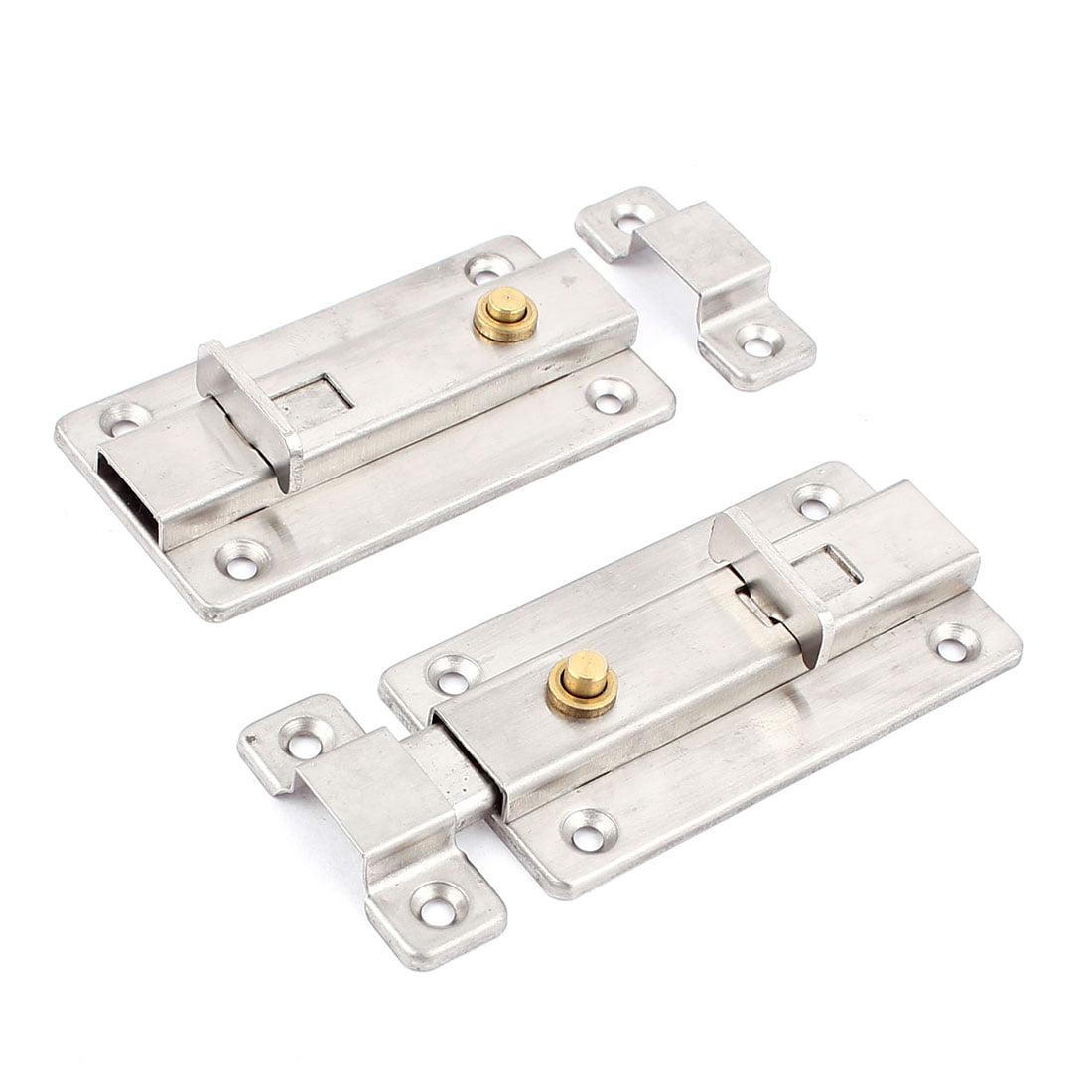 """Unique Bargains 4"""" Press Button Automatic Door Security Latch Lock  Bolt 2 Pcs"""