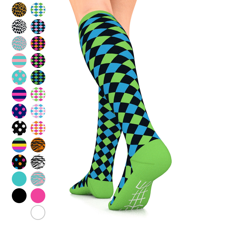 Go2 Fashion Compression Socks for Women 15-20 mmHg Athletic Running Socks for Nurses Travel Medical Graduated Nursing Compression Stocking Sport Sock