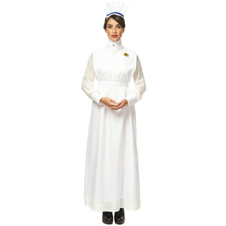 Vintage War Nurse Adult Womens White Uniform Halloween Costume - Nurse Halloween Makeup