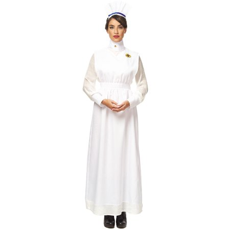 Vintage War Nurse Adult Womens White Uniform Halloween Costume - Halloween Costume Vintage