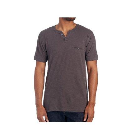 Knit Pocket Tee (Copper & Oak Mens Size Medium Short Sleeve Slub Knit Pocket Tee Shirt, Iron)