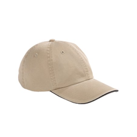Branded Big Accessories Washed Twill Shirt Sandwich Cap - KHAKI/ BLACK - OS (Instant Saving 5% & more on min 2)