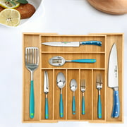 Cotonie Bamboo Expandable Drawer Organizer Kitchen Premium Cutlery And Utensil Tray
