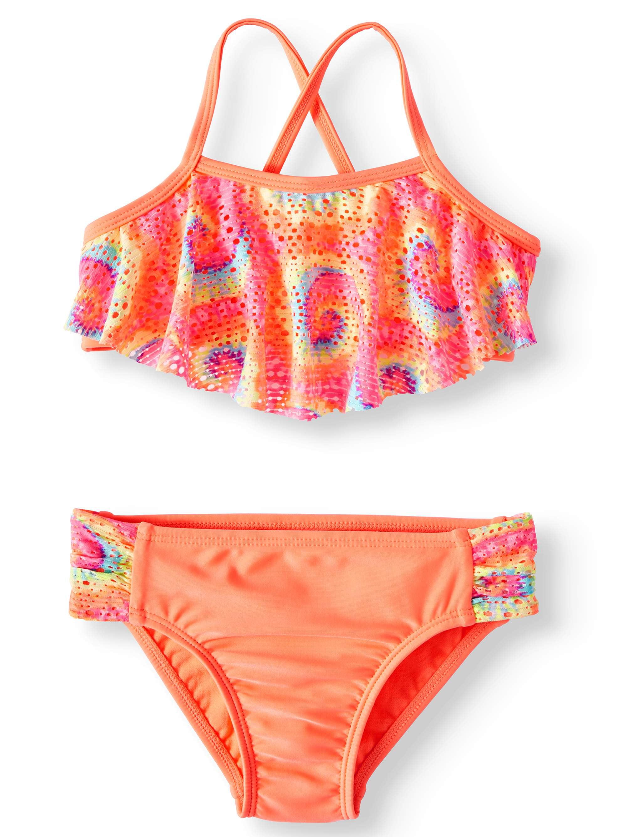 Wonder Nation Girl Power Flash Peach One-Piece Swimsuit