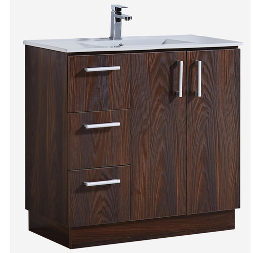 Merveilleux InFurniture 35u0027u0027 Bathroom Vanity With Ceramic Sink In Brown Elm Wood  Texture Finish