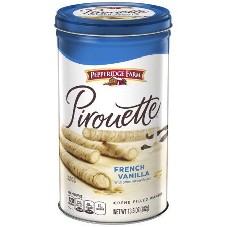 - Pepperidge Farm Pirouette Crème Filled Wafers French Vanilla Cookies, 13.5 oz. Tin