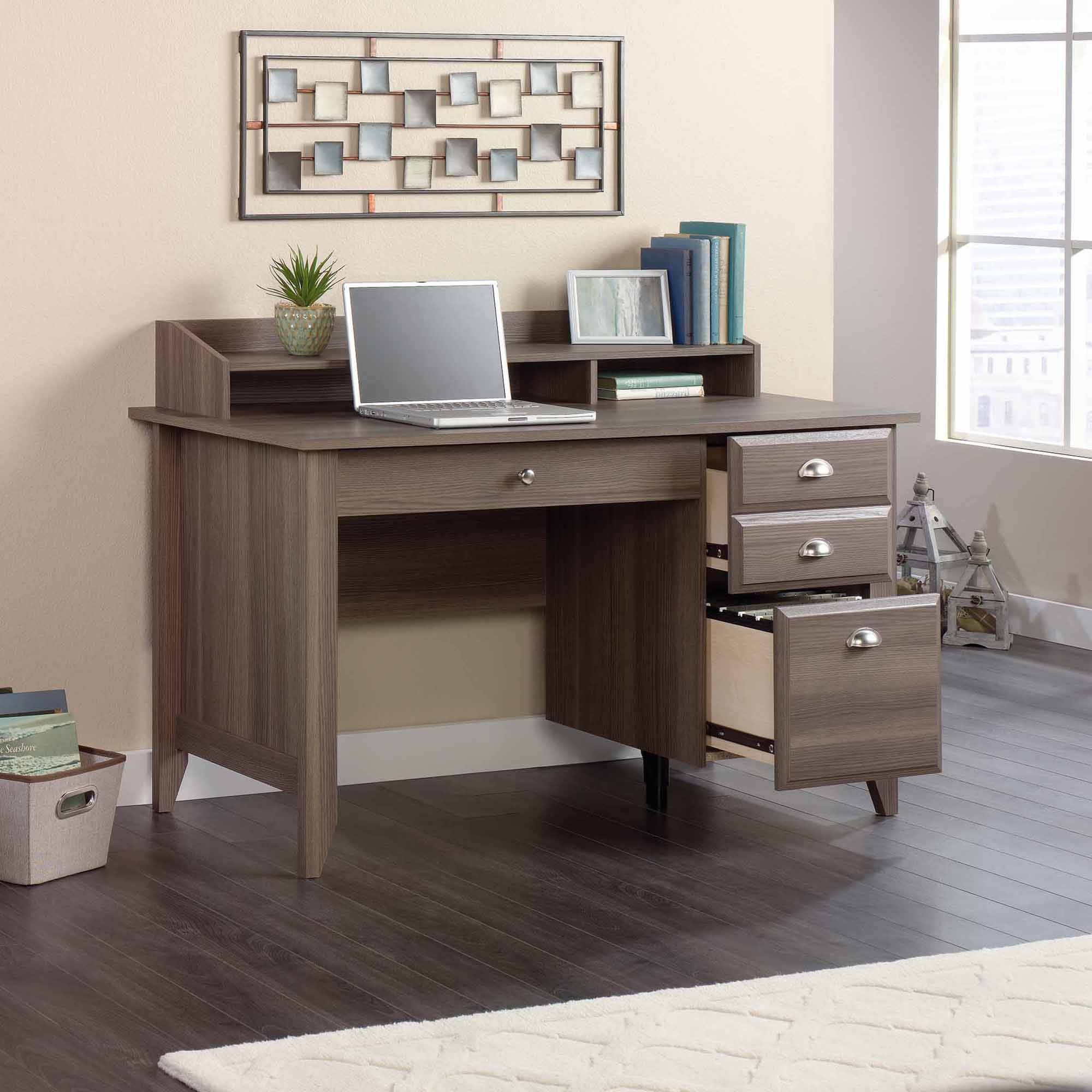 Sauder Shoal Creek Desk With Storage Drawers And Hutch Multiple Finishes Com