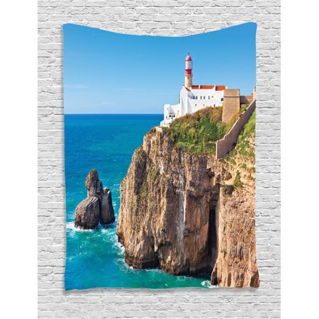 Lighthouse Decor Wall Hanging Tapestry, Daytime At Rocky Lighthouse Shore Seaside Rocks Building Cliff Sunny Day Clear Bright Sky, Bedroom Living Room Dorm Accessories, By - Seaside Decorating Accessories