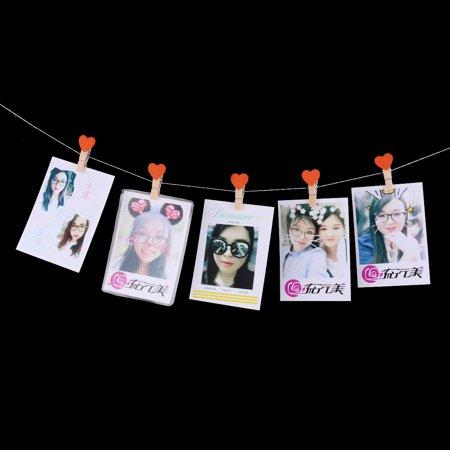 Family Wooden Heart Shape DIY Crafts Card Photo Ornament Peg Clip Orange 10pcs - image 2 of 4
