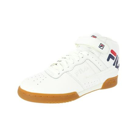 Fila Men's F-13 Logo White / Navy Red Mid-Top Leather Fashion Sneaker - 8M