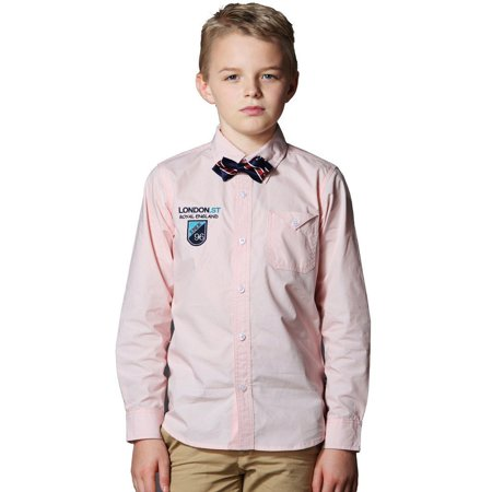 Leo&Lily boys Classic Fine Poplin Casual Woven Shirts Garment (Poplin Classic Shirt)